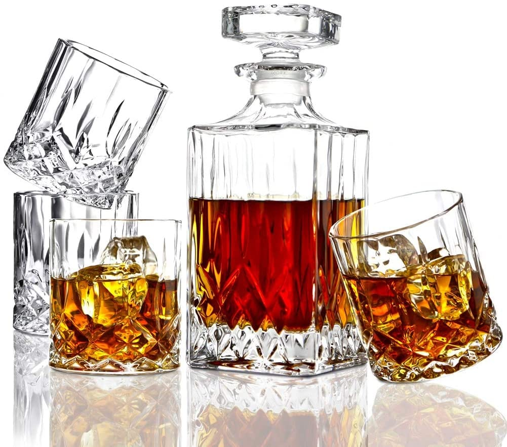 ELIDOMC Decanter Crystal Whiskey Italian Style 4 Glasses For Men