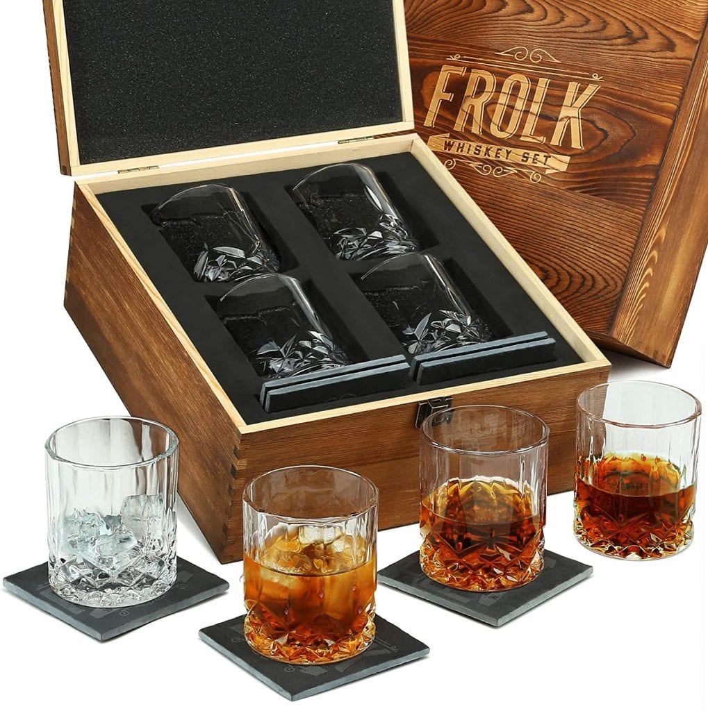 Frolk Slate 4 Old Style Large Whiskey Classic Glass Set