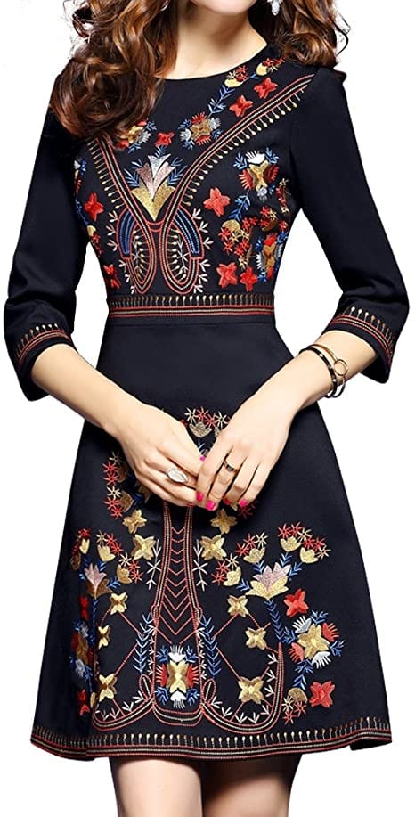 LAI MENG FIVE CATS Women's Embroidered Dress