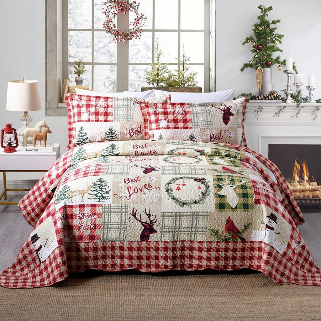 Rustic Three-Piece Christmas Themed Quilt Set